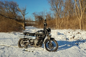 Christmas Day Snow Triumph Scrambler MotoADVR