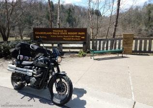 Cumberland Falls Resort Sign Triumph Scrambler MotoADVR