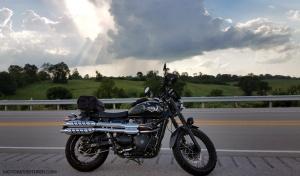 Rosie Triumph Scrambler Kentucky 11 Rain MotoADVR