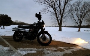 FEB07 Heavy Snow Triumph Scrambler MotoADVR