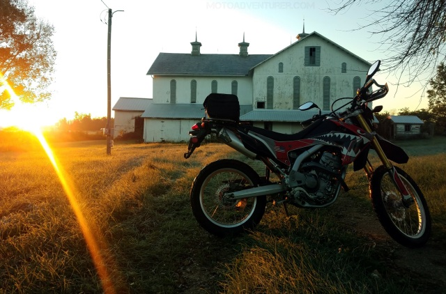 Honda CRF250L Barn Sunrise MotoADVR
